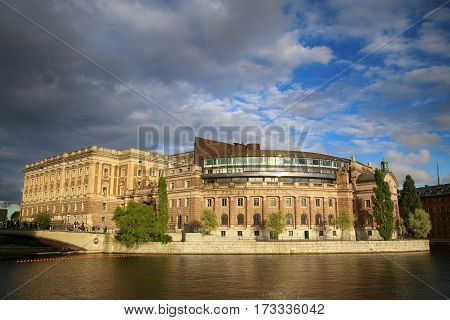 Norrbro bridge and view on parliament building (the former Riksbank) located on Helgeandsholmen in Stockholm Sweden
