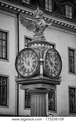 Klocka Central Plan Clock with Crown next to the central train station in Stockholm Sweden
