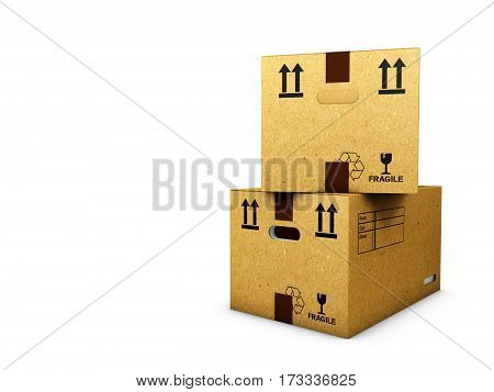 Cardboard boxes isolated over white background 3d Illustration