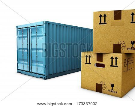 Cardboard boxes with container isolated over white background, 3d Illustration