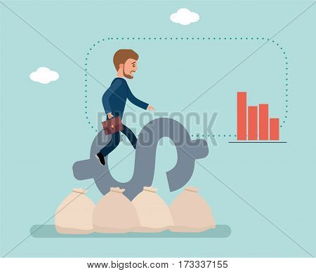 Young businessman sitting on dollar sign barely held. The businessman is afraid to fall. The dollar sign is on the bags of money. Stock market. Concept flat vector business illustration.