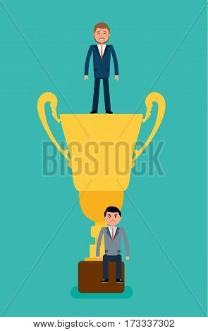 Winner. Businessman winner standing in the gold Cup the bottom of the loser. Concept flat vector business illustration.