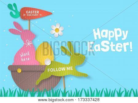 Easter Holiday Concept With Bunny, Egg And Basket Cardboard Paper Silhouette. Realistic Vector Illus