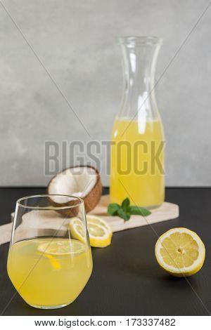 Bottle with fresh citron lemonade