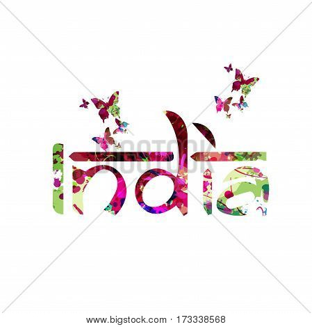 Colorful India inscription vector illustration. India typographic background. India text design isolated. India travel poster. Calligraphic vector for poster, brochure, invitation, banner, flyer, card
