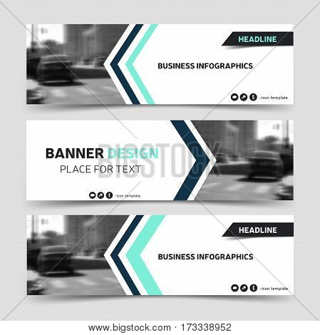 Three horizontal business banner templates. Vector corporate identity design technology background layout. Modern blue website header eps10