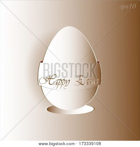 Egg brown, Easter greetings Abstract design author saucer card celebration holy applique style paper tape handmade greeting texts Stock vector illustration