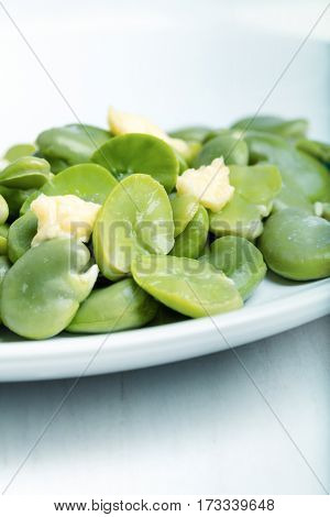 Heap of boiled broad beans