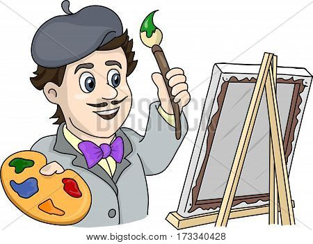 the artist with a brush at the easel
