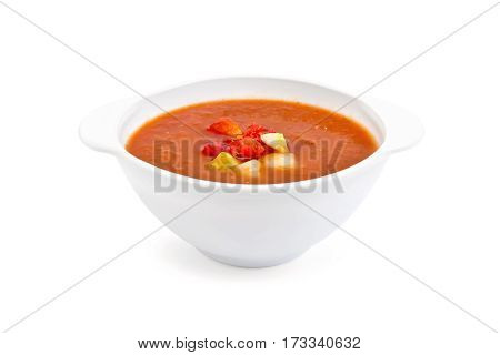 Soup Tomato In White Bowl With Vegetables