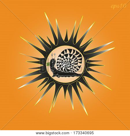 Sun and snail a picture Abstract star with rays and cheerful mollusks, primitive style of the author design print card bright picture black orange Stock vector illustration handmade