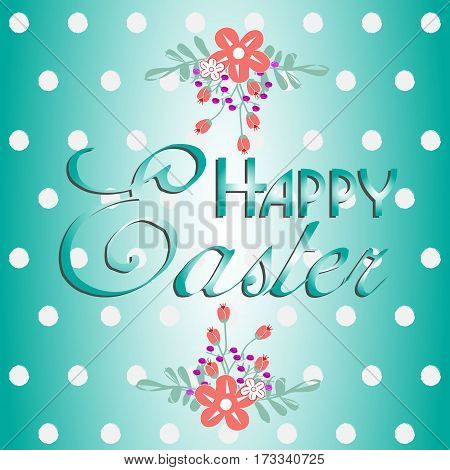 Text with flowers happy Easter Inscription happy easter beautiful print on background with polka dot navy blue with floral element vector illustration happy easter stock background design with shadow