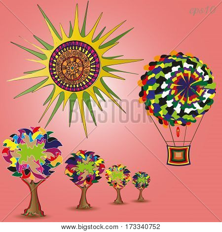 Sun, trees and the aerostat Abstract collage author design summer landscape forest alley ball bright star ethno style pop art Stock vector illustration handmade