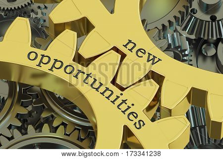 New Opportunities concept on the gearwheels 3D rendering