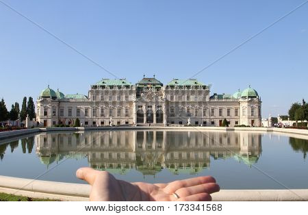 Vienna, Austria - August 28, 2014: Upper Belvedere Castle And A