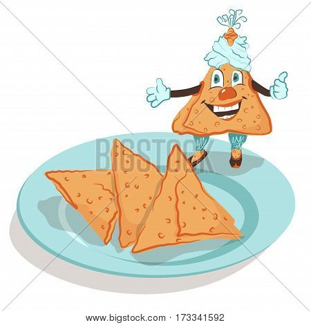 Samosa - Indian national patties. Vector illustration of a delicious fun mischievous samosa