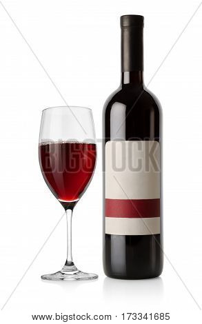 Bottle of red wine isolated on a white background.