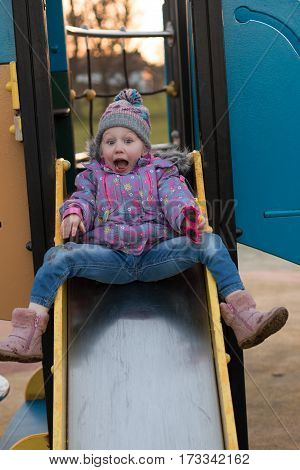My daughter on the Slide in Lurgan Public Park, co. Armagh, Northern Ireland