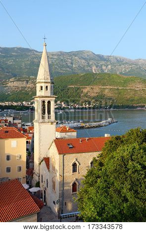 Top view of Old Town and Cathedral of St. John Baptist Budva Montenegro
