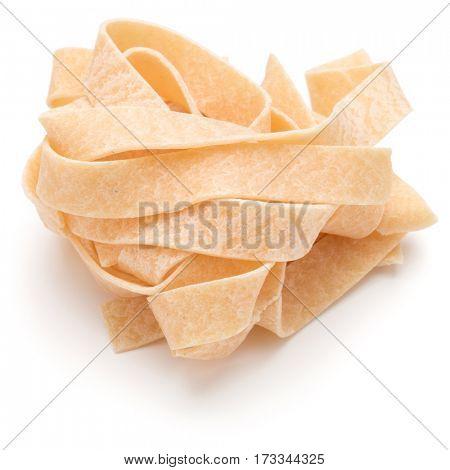 Italian pasta fettuccine nest isolated on white background cutout