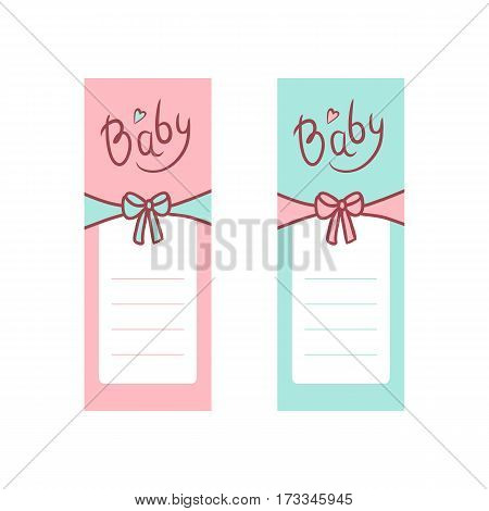 Vector children greeting card in pastel colors. The inscription baby and tied a bow. Marked lines with space for text. Two color options for boys and girls