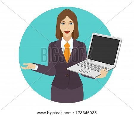 Businesswoman holding a laptop notebook and gesturing. Portrait of businesswoman in a flat style. Vector illustration.