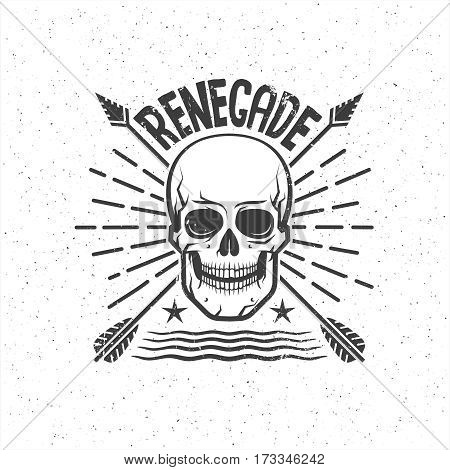 Skull with the crossed arrows - Renegade tattoo. Grunge texture on separate layers and can be easily disabled.