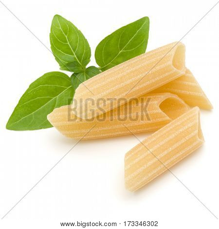 Italian pasta isolated on white background. Pennoni. Penne rigate.