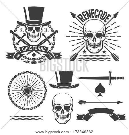 Hipster renegade logo with skulls and elements to them. Vector illustration.