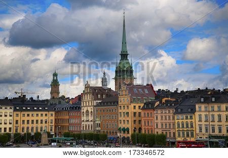 STOCKHOLM SWEDEN - AUGUST 20 2016: View of Gamla Stan and St. Gertrudes Church - Tyska Kyrkan (Old German Church) located in Gamla Stan from Sodermalmstorg in Stockholm Sweden on August 20 2016.