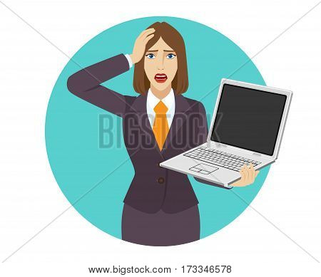 Businesswoman holding a laptop notebook and grabbed his head. Portrait of businesswoman in a flat style. Vector illustration.