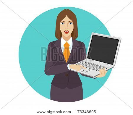 Businesswoman holding a laptop notebook and clicks on the button. Portrait of businesswoman in a flat style. Vector illustration.