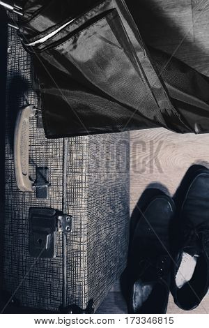Return of the traveler back home. Conceptual photo