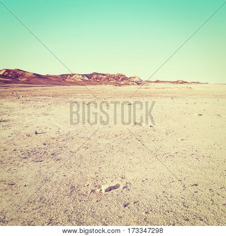 Sandy Plateau in the Judean Desert on the West Bank of the Jordan River Instagram Effect