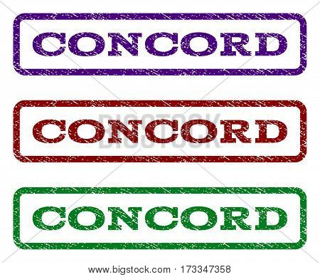 Concord watermark stamp. Text tag inside rounded rectangle frame with grunge design style. Vector variants are indigo blue red green ink colors. Rubber seal stamp with dust texture.
