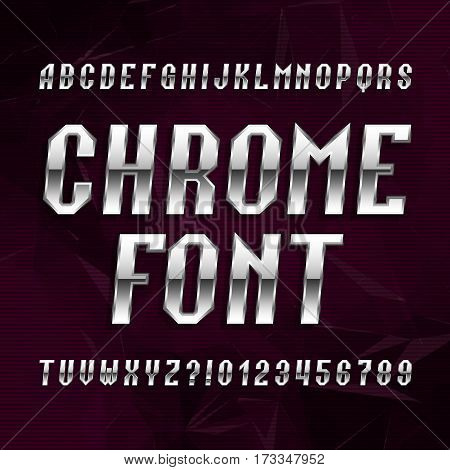 Chrome alphabet font. Metallic effect italic letters and numbers on abstract polygonal background. Stock vector typeface for your design.