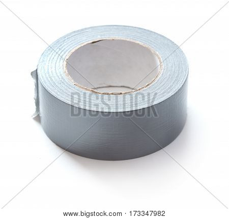 close-up view of gray scotch tape isolated on white background