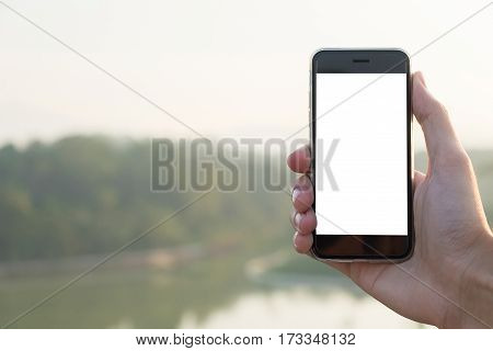 man using smart phone with blank screen. mobile can be add your texts or others.