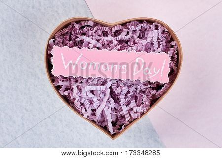 Heart-shaped box and greeting card. I wish you love.