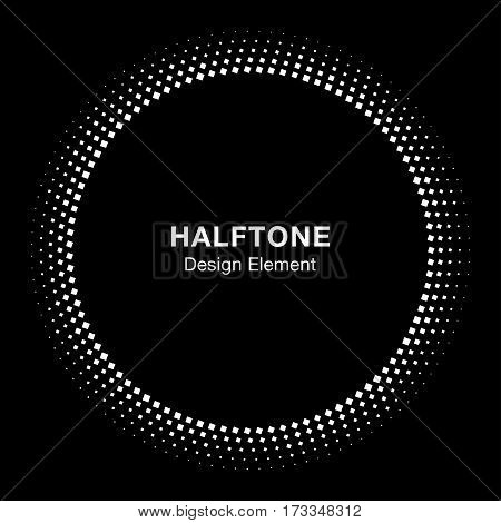 White Abstract Vector Circle Frame Halftone Dots Square Logo Icon Design Element for medical treatment, cosmetic on black background. Halftone circle emblem.