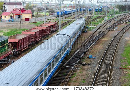 GOMEL BELARUS - APRIL 14 2016: Top view of moving trains on marshalling yard Gomel Belarus