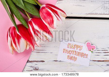 Spring tulips and greeting card. I love my mom.