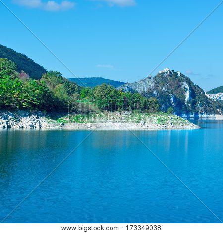 Italian City Castel di Tora by the Lake Lago del Turano