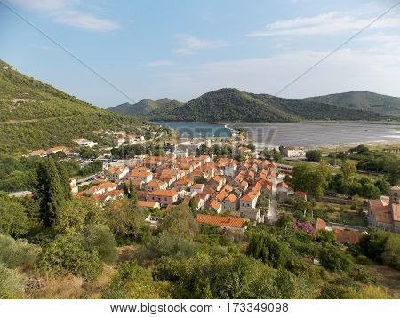 Medieval city of Ston, Croatia, image with the old town, the harbor and the saline