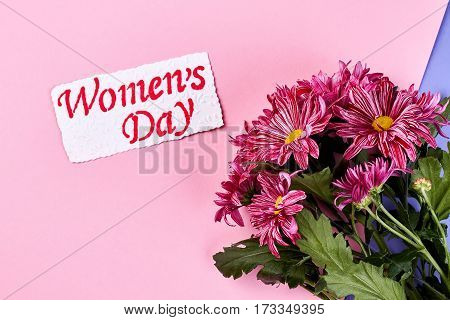 Chrysanthemums and card. The best happy women's day.