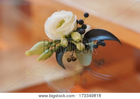 Rose bud in tenderless boutonniere, with dark petals and small buds, closeup