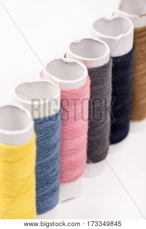 Colorful Threads On The White Background