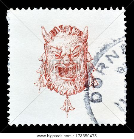 AUSTRIA - CIRCA 1976 : Cancelled postage stamp printed by Austria, that shows Man with horns.
