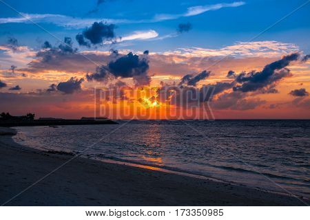 Beautiful Sunset Cloudscape. Water Horizon Over Water