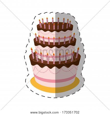 cake birthday candles dessert shadow vector illustration eps 10